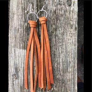 Leather earrings tassel hoop bohemian. Cinnamon